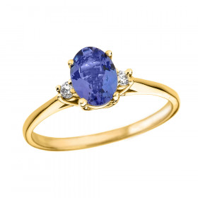 0.6ct Tanzanite and Diamond Oval Engagement Ring in 9ct Gold