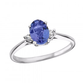 0.6ct Tanzanite and Diamond Oval Engagement Ring in 9ct White Gold