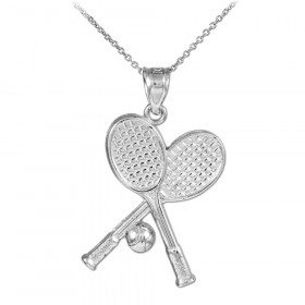 Tennis Rackets and Ball Charm Pendant Necklace in 9ct White Gold