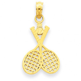 Tennis Rackets Charm Pendant Necklace in 9ct Gold