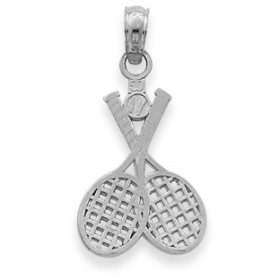 Tennis Rackets Charm Pendant Necklace in 9ct White Gold