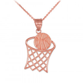 Textured Basketball Charm Pendant Necklace in 9ct Rose Gold