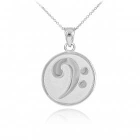 Textured Bass Clef Charm Pendant Necklace in 9ct White Gold