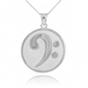 Textured Bass Clef Pendant Necklace in Sterling Silver