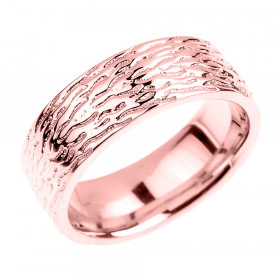 Textured Decorative Wedding Ring in 9ct Rose Gold