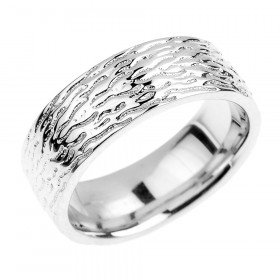Textured Decorative Wedding Ring in 9ct White Gold