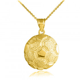 Textured Football Pendant Necklace in 9ct Gold