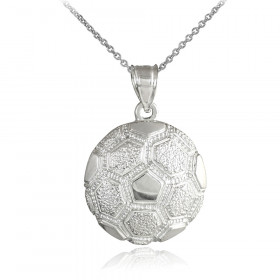 Textured Football Pendant Necklace in Sterling Silver