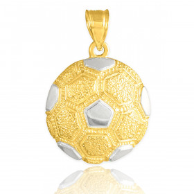 Textured Football Pendant Necklace in 9ct Two-Tone Gold