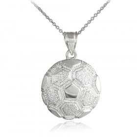 Textured Football Pendant Necklace in 9ct White Gold