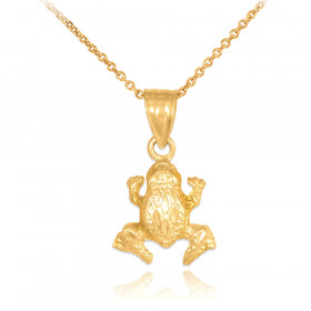 Textured Frog Charm Pendant Necklace in 9ct Gold