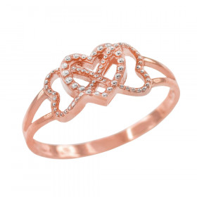 Textured Infinity Heart Ring in 9ct Two-Tone Gold