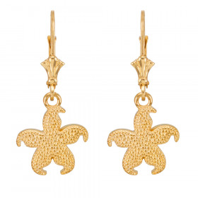 Textured Starfish Earrings in 9ct Gold