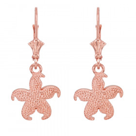 Textured Starfish Earrings in 9ct Rose Gold