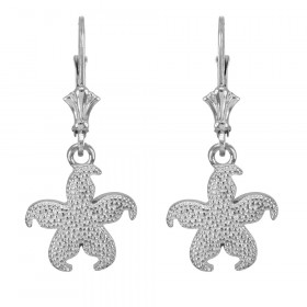 Textured Starfish Earrings in 9ct White Gold