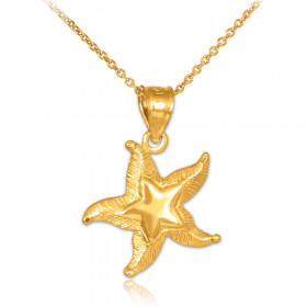 Textured Starfish Pendant Necklace in 9ct Gold