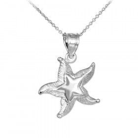 Textured Starfish Pendant Necklace in 9ct White Gold