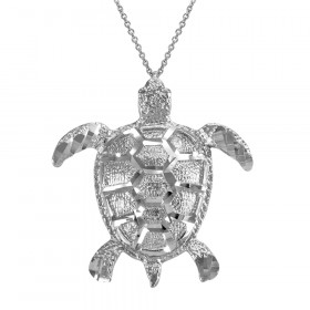 Textured Style Sea Turtle Pendant Necklace in 9ct White Gold