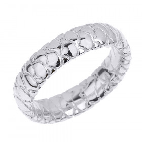 Textured Unisex Decorative Wedding Ring in 9ct White Gold