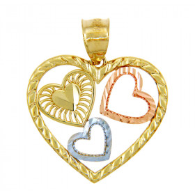 Three Hearts Pendant Necklace in 9ct Three-Tone Gold
