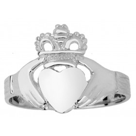 Traditional Claddagh Ring in 9ct White Gold