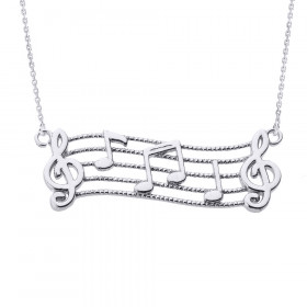 Treble Clef Musical Note Pendant Necklace in 9ct White Gold