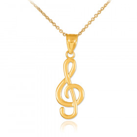 Treble Clef Pendant Necklace in 9ct Gold
