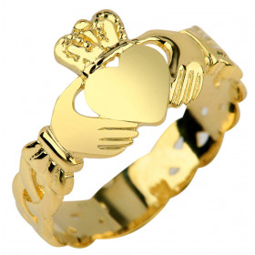 Trinity Band Claddagh Ring in 9ct Gold