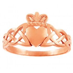 Trinity Band Claddagh Ring in 9ct Rose Gold