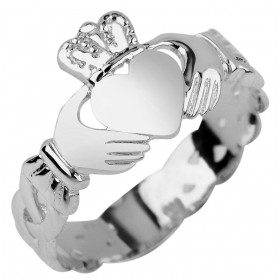 Trinity Band Claddagh Ring in 9ct White Gold