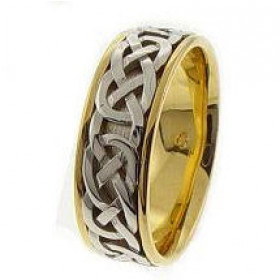 Trinity Knot Celtic Wedding Ring in 9ct Two-Tone Gold