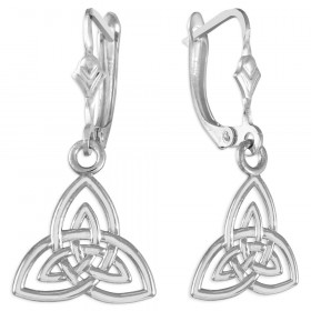 Trinity Knot Claddagh Earrings in 9ct White Gold