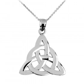 Trinity Knot Claddagh Pendant Necklace in 9ct White Gold