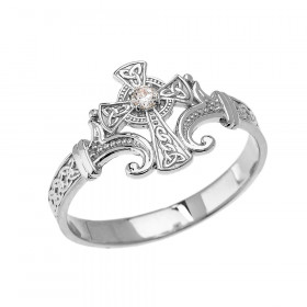 0.05ct Trinity Ring in 9ct White Gold