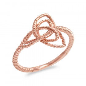 Triquetra Knot Promise Twisted Rope Engagement Ring in 9ct Rose Gold