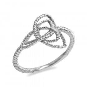 Triquetra Knot Promise Twisted Rope Engagement Ring in 9ct White Gold