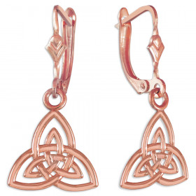 Triquetra Trinity Knot Claddagh Earrings in 9ct Rose Gold