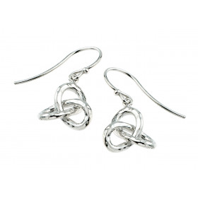 Triquetra Trinity Knot Claddagh Earrings in Sterling Silver
