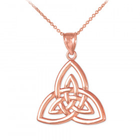 Triquetra Trinity Knot Pendant Necklace in 9ct Rose Gold