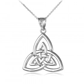 Triquetra Trinity Knot Pendant Necklace in Sterling Silver