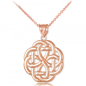 Triquetra Trinity Pendant Necklace in 9ct Rose Gold