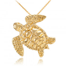 Turtle Pendant Necklace in 9ct Gold
