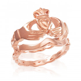 Two-Piece Band Engagement Rings Set in 9ct Rose Gold