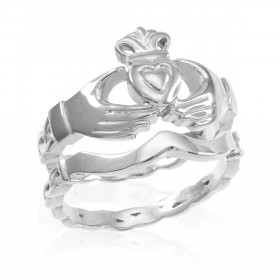 Two-Piece Band Engagement Rings Set in Sterling Silver