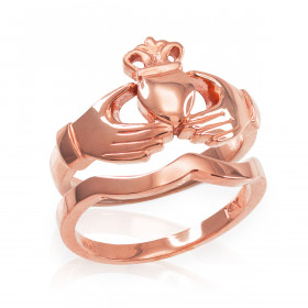 Two-Piece Classic Band Engagement Rings Set in 9ct Rose Gold