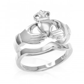 Two-Piece Classic Band Engagement Rings Set in Sterling Silver