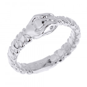 Unisex Ouroboros Snake Thumb Ring in 9ct White Gold
