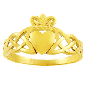 Variation Trinity Band Claddagh Ring in 9ct Gold
