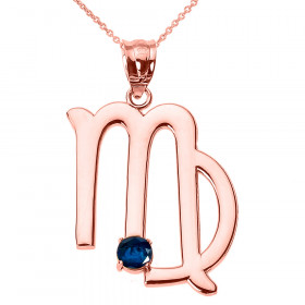 0.22ct Virgo Zodiac Pendant Necklace in 9ct Rose Gold