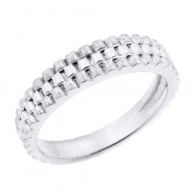 Watchband Design Unisex Decorative Wedding Ring in 9ct White Gold